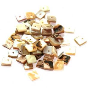 školjke, kvadratne ploščate 1 cm, naravne barve, 50 gr