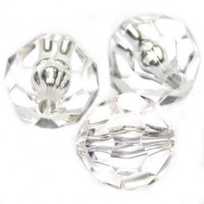 "plastične perle, ""nepravilno"" okrogle 16 mm, prozorne, 50 gr"