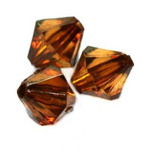 plastične perle, bikoni 8 mm, rjave, 50 gr