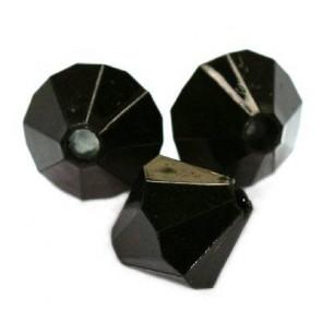 plastične perle, bikoni 12 mm, črna, 50 g