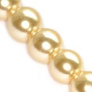 steklene perle, okrogle 6 mm, ecru, 1 niz - 80 cm