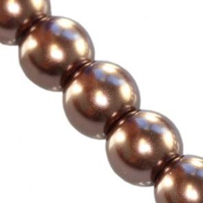 steklene perle, okrogle 8 mm, rjave, 1 niz - 80 cm