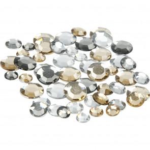 akrilni krogci, 6+9+12 mm, zlata-siva mix, 1 kos