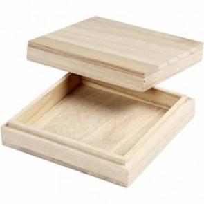 lesena škatla 10x10x3 cm, naravna b., 1 kos
