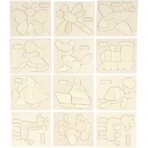 Puzzle 12,5x14,5 cm, naravni les - primerni za barvanje, mix, 1 kos