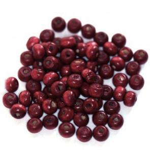 lesene perle, okrogle 5x6 mm, t.rdeče, 50 gr