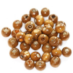 lesene perle, okrogle 7x8 mm, svetlo rjave, 50 gr