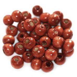 lesene perle, okrogle 7x8 mm, opečnato rdeče, 50 gr