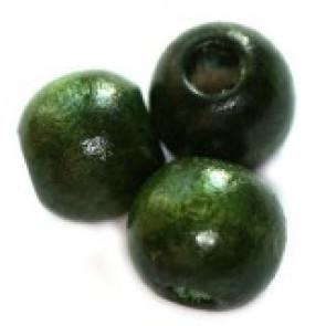 lesene perle, okrogle 9x10 mm, t. zelene, 50 gr