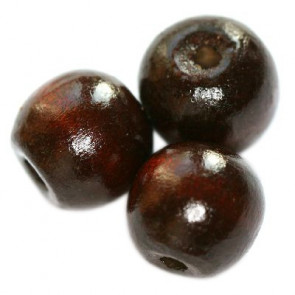 lesene perle, okrogle 9x10 mm, rjave, 50 gr