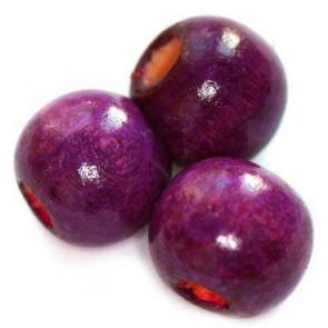 lesene perle, okrogle 9x10 mm, vijola, 50 gr