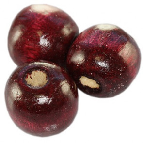 lesene perle, okrogle 13x14 mm, t. rdeče, 50 gr