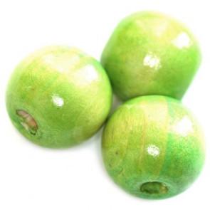 lesene perle, okrogle 15x16 mm, sv.zelene, 50 gr