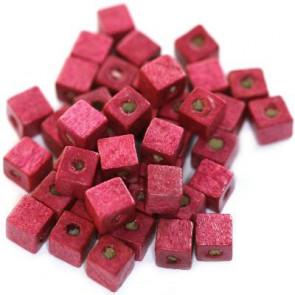 lesene perle, kocke 6 mm, roza, 50 gr