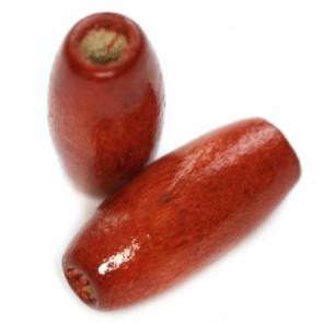 lesene perle, ovalne 15x7 mm, rdeče, 50 gr