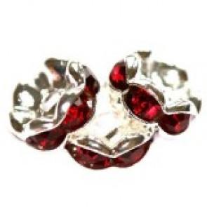 vmesni obročki s cirkoni 8 mm, ruby, 1 kos