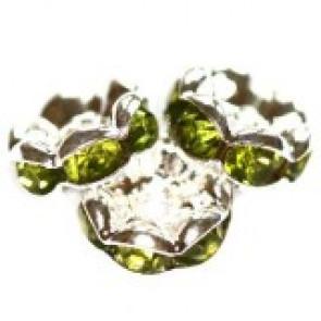 vmesni obročki s cirkoni 8 mm, olivine, 1 kos