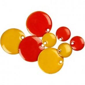 medeninaste perle okrogle - ploščate, 11 mm, rumene, 1 kos