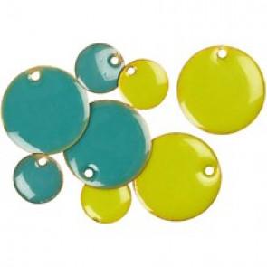 medeninaste perle okrogle - ploščate, 11 mm, turkizne, 1 kos