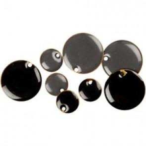 medeninaste perle okrogle - ploščate, 20 mm, sive, 1 kos