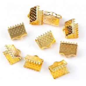 zaključni element za trak/vrvico 6x6x5 mm, zlate b., 1 kos