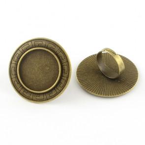 osnova za prstan za kapljico 25 mm, premer nastavljivega obročka: 17.5 mm, antik, brez niklja, 1 kos