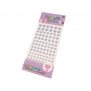 samolepilne perle rožice - polovične, 6 - 12 mm mix, crystal, 16 kos