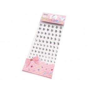 samolepilne perle srčki - polovične, 6 - 12 mm mix, crystal, 14 kos
