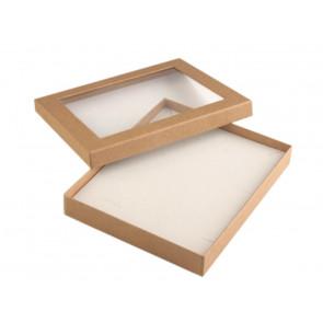 škatla za nakit 16x19.5x3 cm, rjava, z okencem, 1 kos