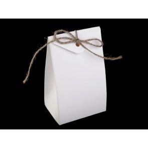 darilna embalaža 7.5x12 cm, bele b., s trakcem iz jute, 1 kos
