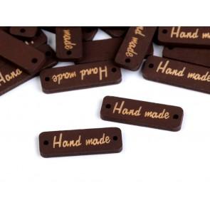 """lesen našitek """"hand made"""", 10x30 mm, rjave barve, velikost luknje: 1,5 mm, 1 kos"""