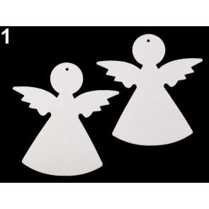 leseni obesek - angel, 7,9 x 8,2 cm, bele b., 1 kos