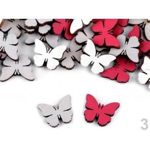 leseni metulji 17x17 mm, debelina 2,5 mm, mix, 1 kos