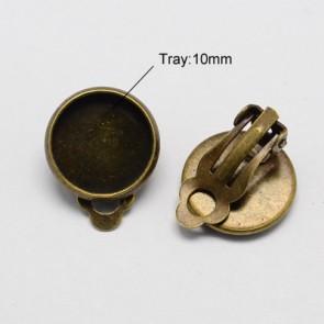 osnova za uhane brez luknje 9x14mm, antik, brez niklja, velikost kapljice: 10 mm, 1 kos