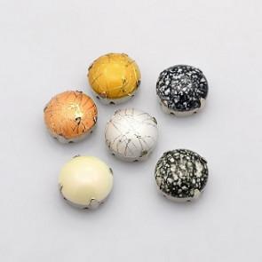 akrilne perle v kovinski osnovi 10 x 8 mm, mix, 1 kos