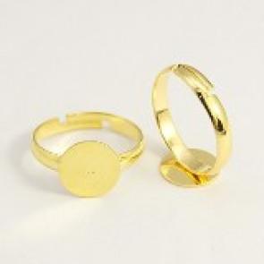 osnova za prstan s ploščico 10 mm, premer nastavljivega obročka: 19 mm, zlate barve, 1 kos
