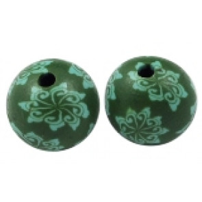 fimo perle okrogle 10 mm, zelene, ročno delo, 5 kos
