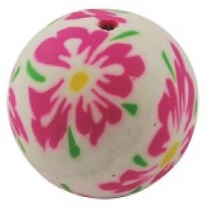 fimo perle okrogle 20 mm, roza rože, ročno delo, 1 kos