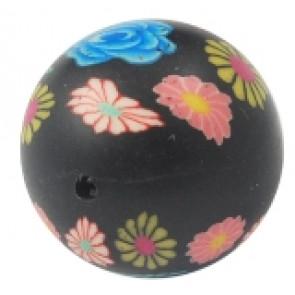 fimo perle okrogle 8 mm, črne, ročno delo, 1 kos
