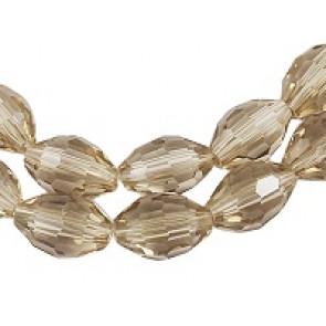 steklene perle, nepravilno ovalne 6x9 mm, sive, 1 niz-63 cm