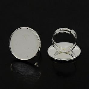 osnova za prstan za kapljico 22.5 ~ 23 mm, premer nastavljivega obročka: 17 mm, srebrne b., 1 kos