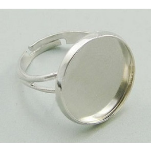 osnova za prstan za kapljico 18 mm, premer nastavljivega obročka: 17 mm, srebrne b., 1 kos