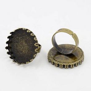 osnova za prstan za kapljico 25 mm, premer nastavljivega obročka: 17 mm, antik, brez niklja, 1 kos