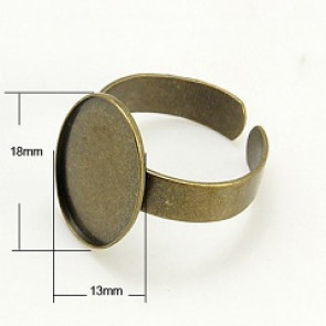 osnova za prstan za kapljico 18x13 mm, antik, 1 kos