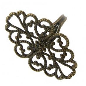 osnova za prstan z ornamentom 20 x 32 mm, premer nastavljivega obročka: 17 mm, antik, 1 kos
