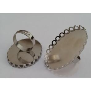 osnova za prstan za kapljico 30x40 mm, premer nastavljivega obročka: 18 mm, platinaste b., 1 kos