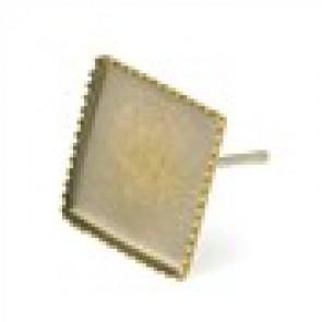 osnova za uhan 13 x 13 mm, antik, brez niklja, velikost kapljice: 10x10 mm, 1 kos