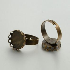 osnova za prstan za kapljico 14 mm, premer nastavljivega obročka: 18 mm, antik, brez niklja, 1 kos