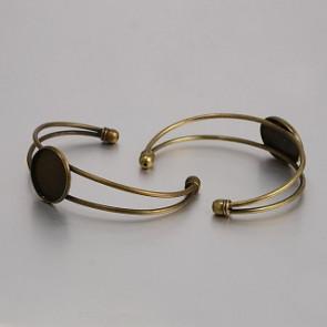 kovinska osnova za zapestnico 63 mm, antik, brez niklja, 1 kos