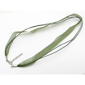 osnova za ogrlico z zaključkom, olivno zelena, 1 kos